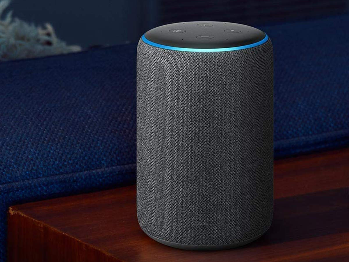 An Alexa device sitting on a table.